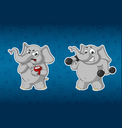 Elephants sports dumbbells in the handsfitness vector