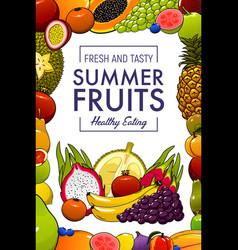 Exotic tropical fruits summer healthy food vector