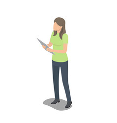 Faceless female character stands with big tablet vector