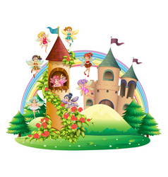 Fairies flying around the tower vector