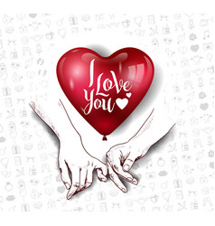 Finger holding hand hand drawn with big red heart vector