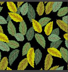 flying green leaves on dark background fresh vector image