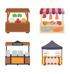 Food carts flat icons vector