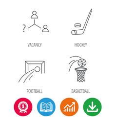 Football ice hockey and basketball icons vector