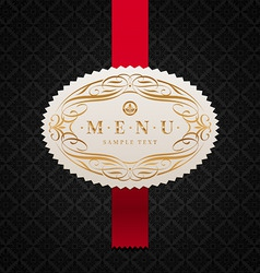 Framed ornate menu label vector