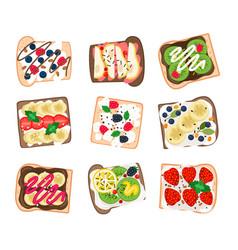 Fruit sandwich set vector