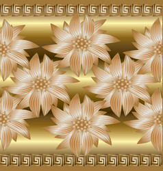 Gold 3d floral seamless border pattern greek vector