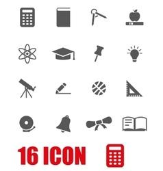 Grey education icon set vector