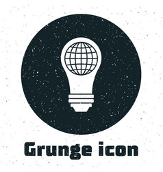 Grunge light bulb with inside world globe icon vector