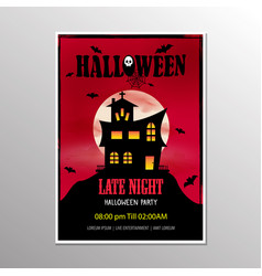 Halloween late night party poster and scary house vector