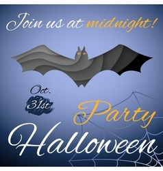 Halloween party poster Dark paper bat vector