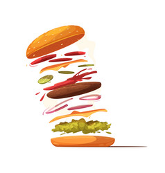 hamburger ingredients design vector image