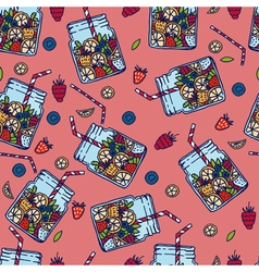 Hand drawn seamless pattern with fruit water in vector