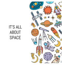 hand drawn space elements background vector image