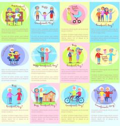 Happy grandparents day senior couples and children vector