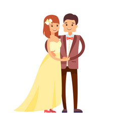 Happy newlyweds in cute suits vector