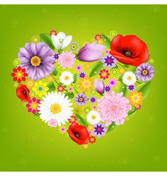 Heart From Flowers With Green Background vector