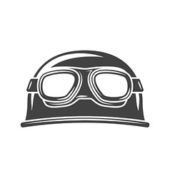 Helmet with eyewear Black icon logo element flat vector image
