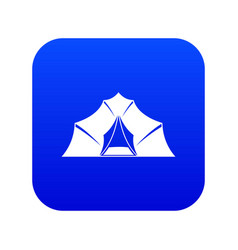 hiking and camping tent icon digital blue vector image