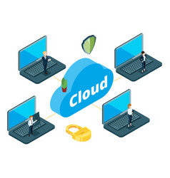 information transfer concept isometric cloud vector image