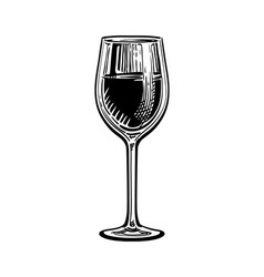ink sketch of wineglass vector image