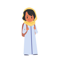 Islamic girl with backpack goes to school flat vector