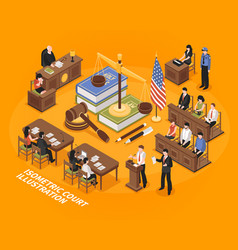 Isometric court vector