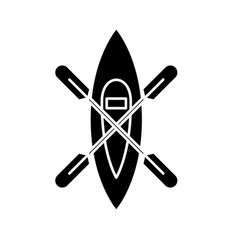 Kayaking boat black icon sign on isolated vector
