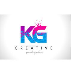 Kg k g letter logo with shattered broken blue vector