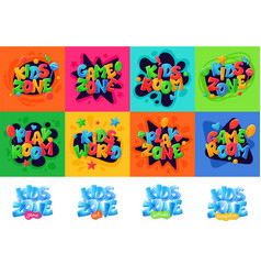 kids zone banners set for children playground area vector image