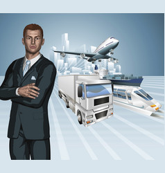Logistics business man concept background vector