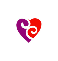 love heart couple swirl logo vector image