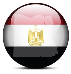 Map on flag button of Arab Republic of Egypt vector image