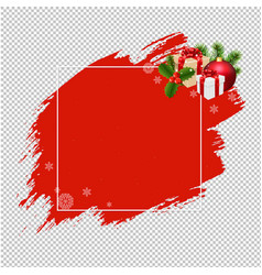 Merry christmas banner red blobs transparent vector