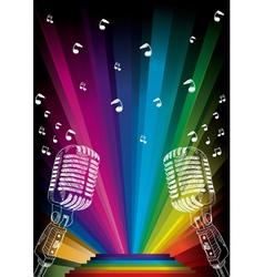 Microphone on rainbow vector