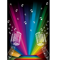 microphone on rainbow vector image