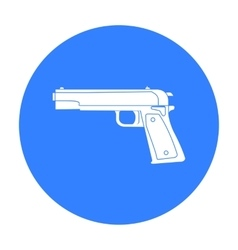 Military handgun icon in black style isolated on vector image