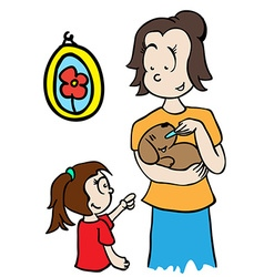 mom feeding a dog vector image