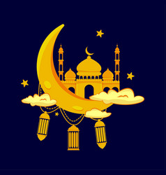 mosque and moon ramadan kareem vector image