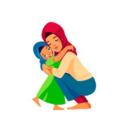 Muslim mother and child mom hugging her daughter vector