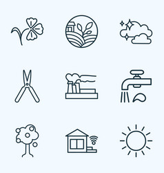 Nature icons line style set with clean air water vector
