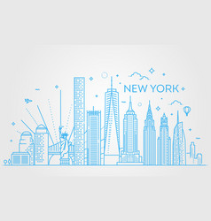 New york city skyline flat vector