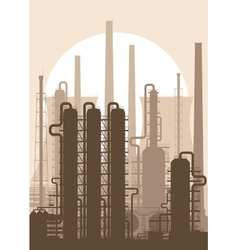 Oil refinery or chemical plant silhouette vector