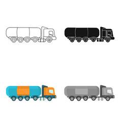 oil tank trucker icon in cartoon style isolated on vector image