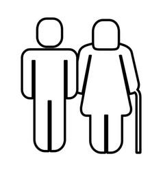 Old grandparents figure silhouette vector