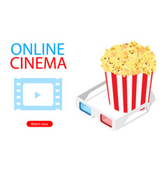 online cinema art movie watching with popcorn and vector image