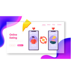 online dating application concept landing page vector image