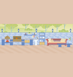 Outdoor kitchen with areas for cooking and rest vector