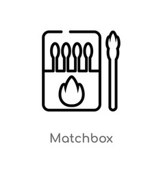 Outline matchbox icon isolated black simple line vector