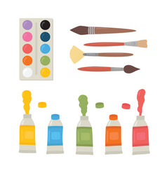 painting tools elements cartoon colorful vector image